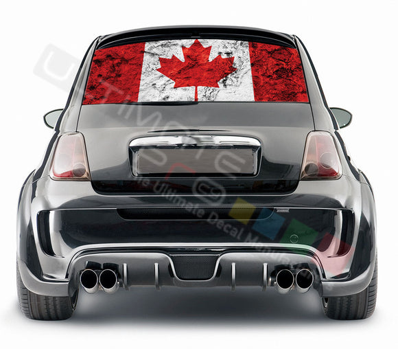 Canada graphics Perforated Decals Fiat 500 Abarth 2007 - Present