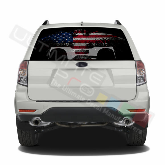 Eagle Flag graphics Perforated Decals Subaru Forester 2012 - Present