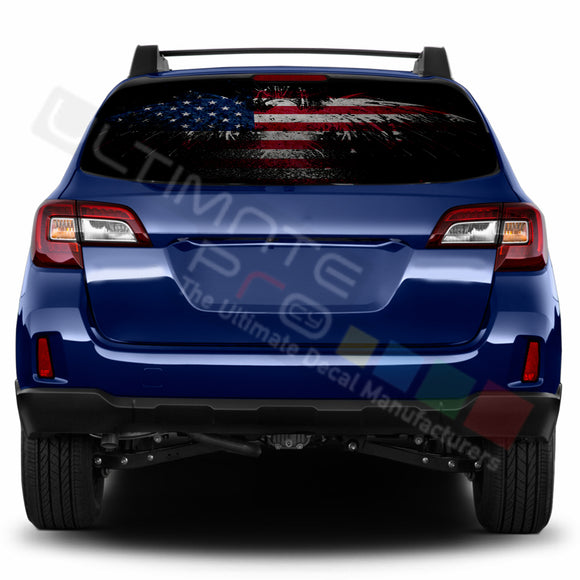 Eagle Flag Perforated Decals stickers compatible with Subaru Outback