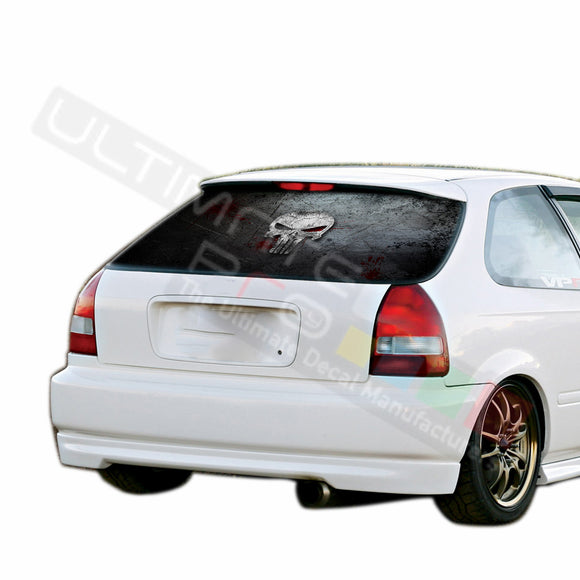 Punisher Skull graphics Perforated Decals HONDA civic 1997-Present