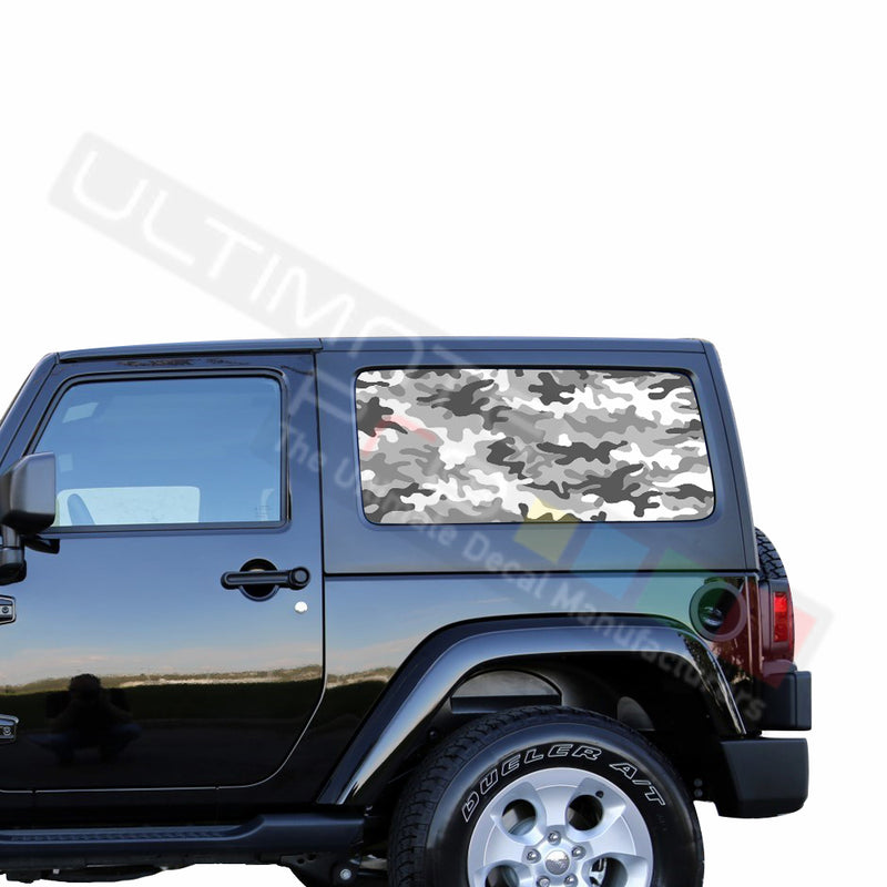 Rear Window White Army Perforated for Jeep Wrangler JL, JK decal 2007 - Present