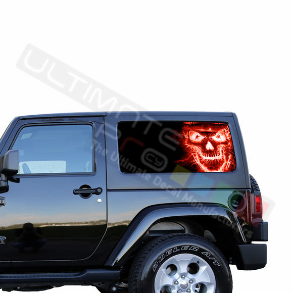 Rear Window Red Skull Perforated for Jeep Wrangler JL, JK decal 2007 - Present