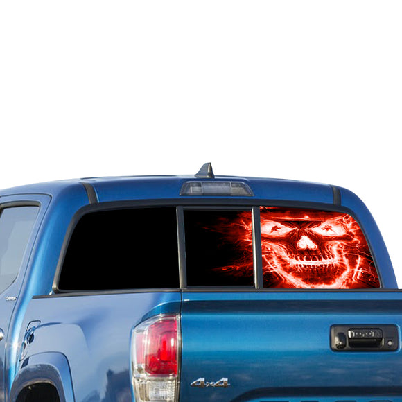 Skull Red Perforated for Toyota Tacoma decal 2009 - Present