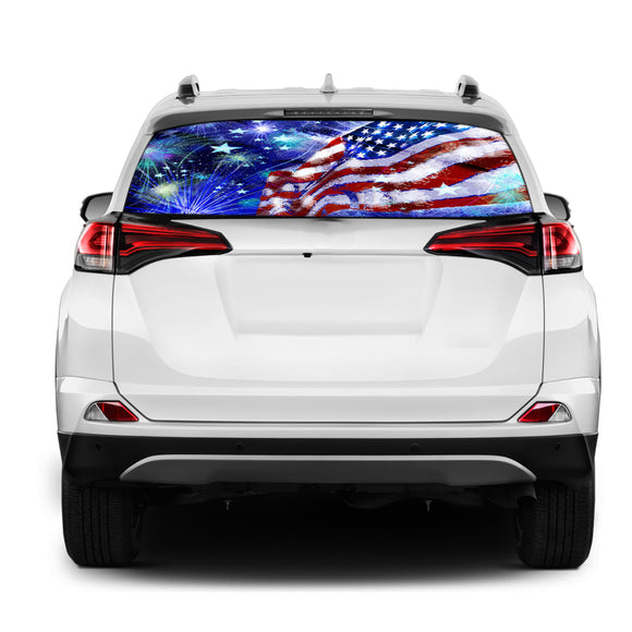 USA Stars Rear Window Perforated for Toyota RAV4 decal 2013 - Present