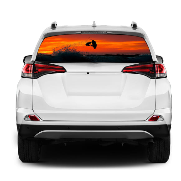 Surfing Rear Window Perforated for Toyota RAV4 decal 2013 - Present