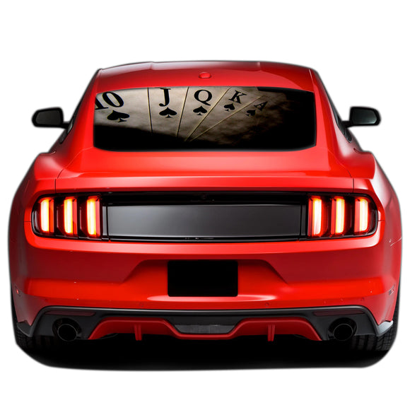 Play Cards Perforated Sticker for Ford Mustang decal 2015 - Present