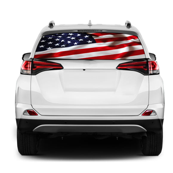 USA Rear Window Perforated for Toyota RAV4 decal 2013 - Present