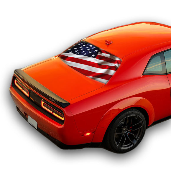 USA Flag Perforated for Dodge Challenger decal 2008 - Present