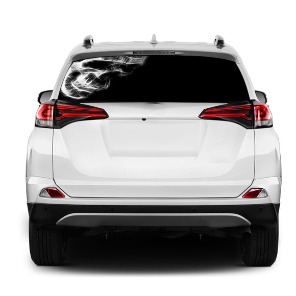 Black Skull Rear Window Perforated for Toyota RAV4 decal 2013 - Present