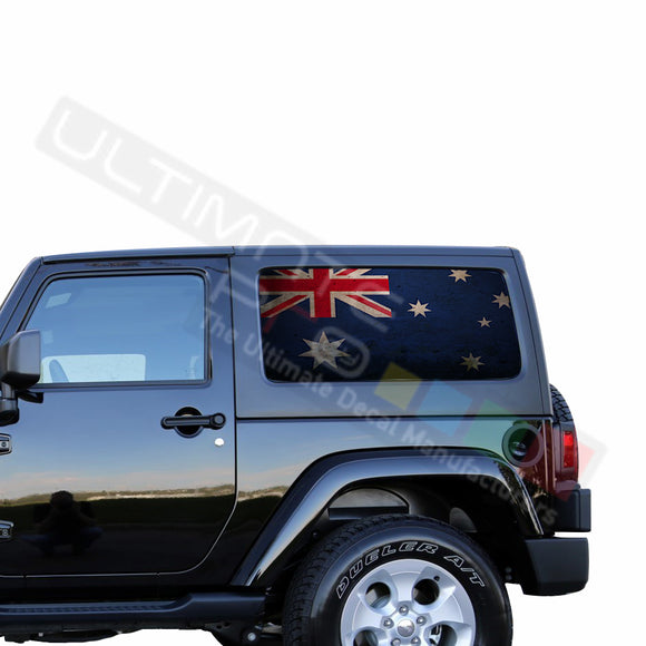 Rear Window Australia Flag Perforated for Jeep Wrangler JL, JK decal 2007 - Present