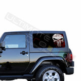 Rear Window Punisher Skull Perforated for Jeep Wrangler JL, JK decal 2007 - Present