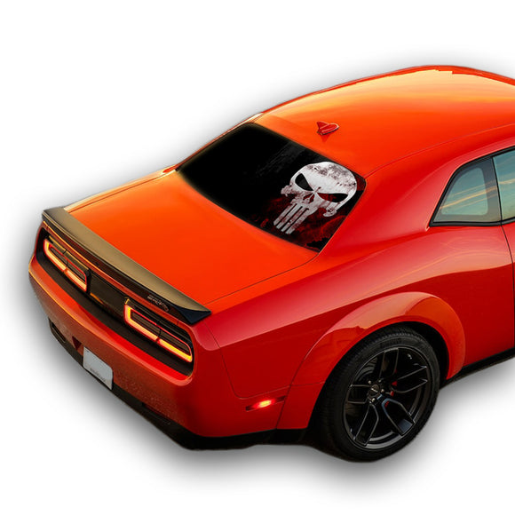 Punisher Skull Perforated for Dodge Challenger decal 2008 - Present