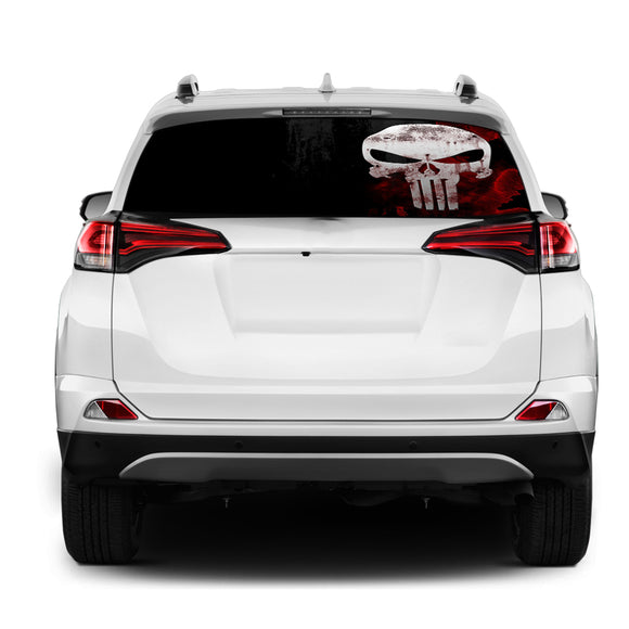 Punisher Skull Rear Window Perforated for Toyota RAV4 decal 2013 - Present