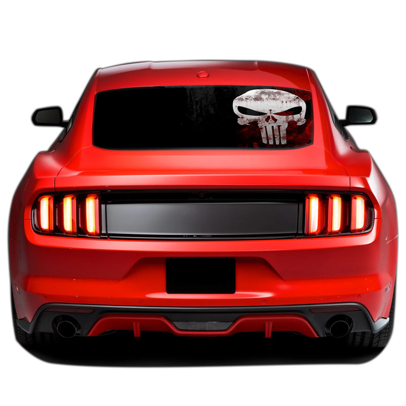 Punisher Perforated Sticker for Ford Mustang decal 2015 - Present