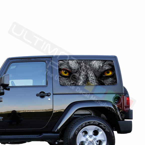 Rear Window Wolf Eyes Perforated for Jeep Wrangler JL, JK decal 2007 - Present