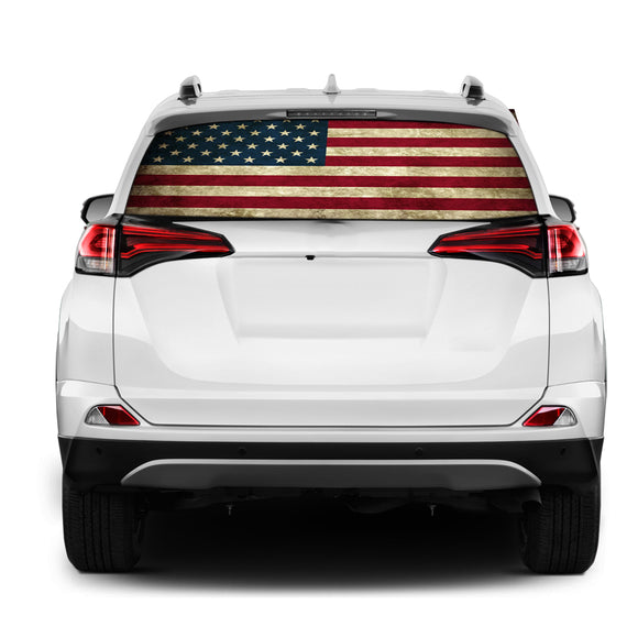 USA Flag Rear Window Perforated for Toyota RAV4 decal 2013 - Present