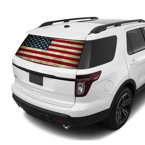 Flag USA Rear Window Perforated For Ford Explorer Decal 2011 - Present