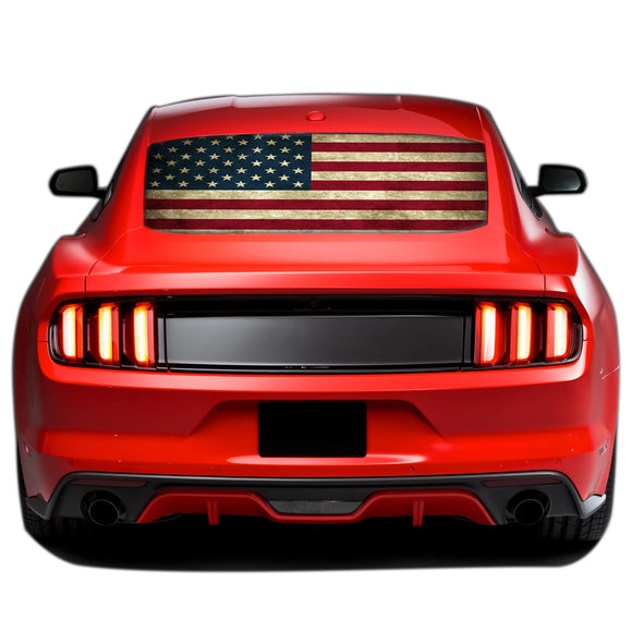 Flag USA Perforated Sticker for Ford Mustang decal 2015 - Present