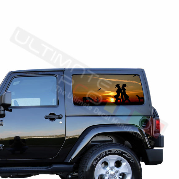 Rear Window Wild West Perforated for Jeep Wrangler JL, JK decal 2007 - Present