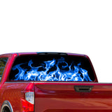 Blue Flames Perforated for Nissan Titan decal 2012 - Present