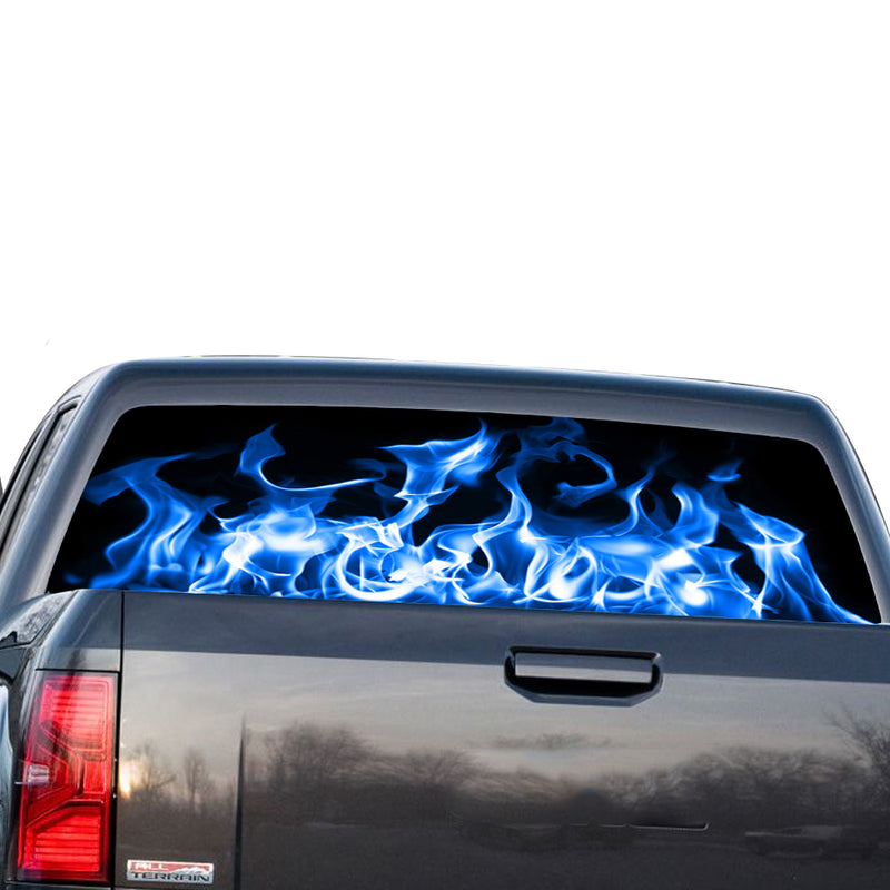 Blue Flames Perforated for GMC Sierra decal 2014 - Present