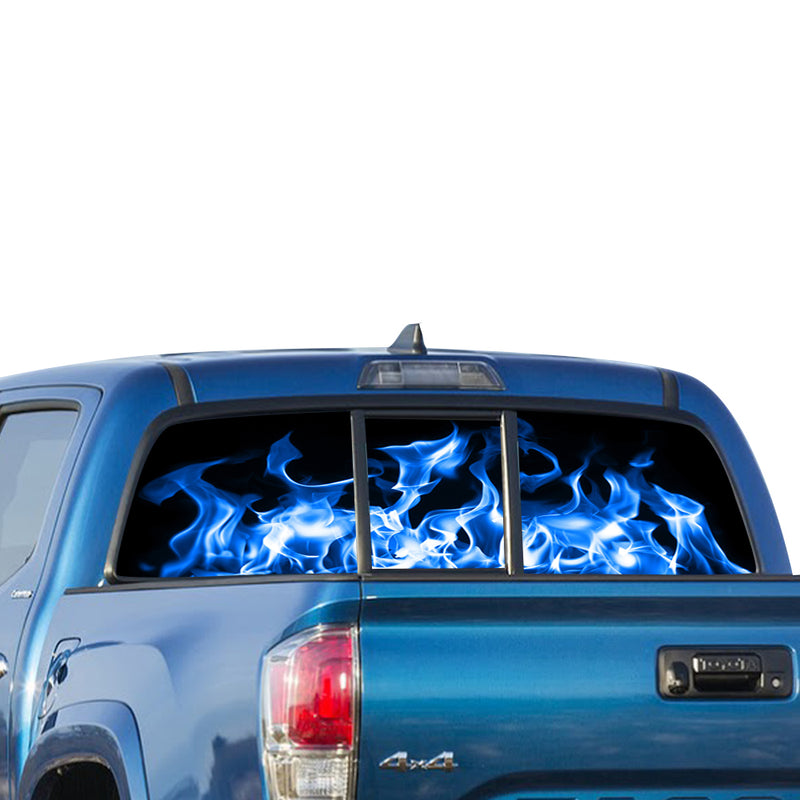 Blue Flames Perforated for Toyota Tacoma decal 2009 - Present