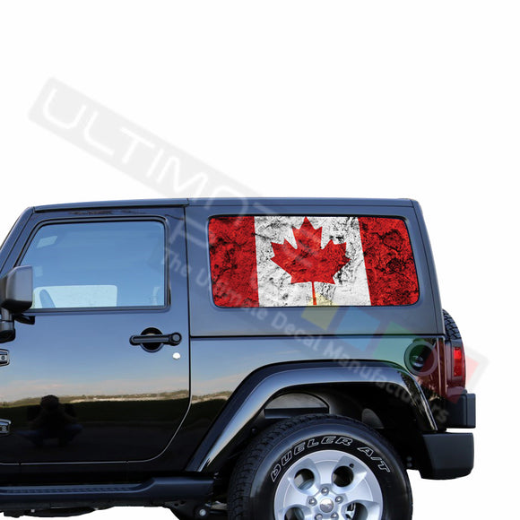 Rear Window Canada Flag Perforated for Jeep Wrangler JL, JK decal 2007 - Present