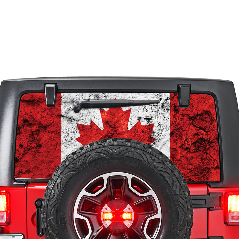 Canada Flag Perforated for Jeep Wrangler JL, JK decal 2007 - Present