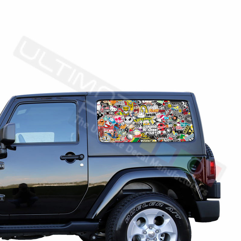 Rear Window Bomb Skin Perforated for Jeep Wrangler JL, JK decal 2007 - Present