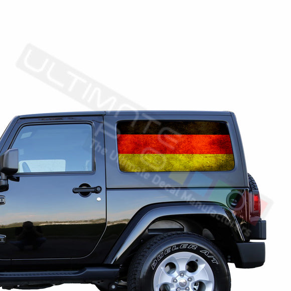 Rear Window Germany Flag Perforated for Jeep Wrangler JL, JK decal 2007 - Present