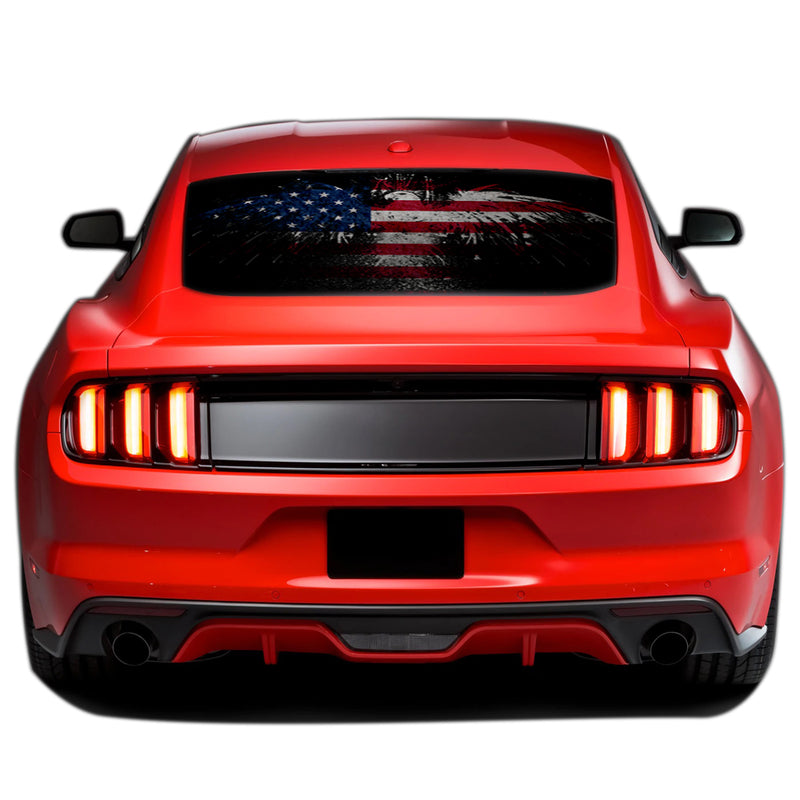 USA Flag Eagle Perforated Sticker for Ford Mustang decal 2015 - Present