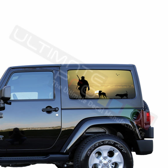 Rear Window Hunting 2 Perforated for Jeep Wrangler JL, JK decal 2007 - Present