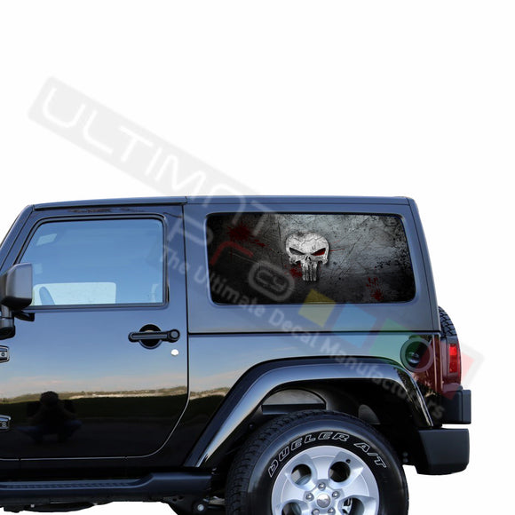Rear Window Punisher Perforated for Jeep Wrangler JL, JK decal 2007 - Present