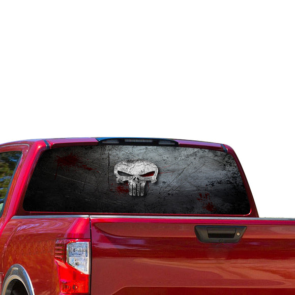 Punisher Skull Perforated for Nissan Titan decal 2012 - Present