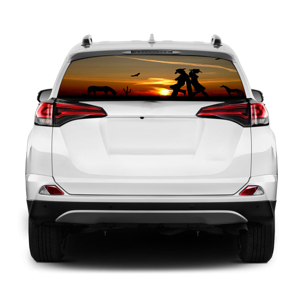 Wild West Rear Window Perforated for Toyota RAV4 decal 2013 - Present