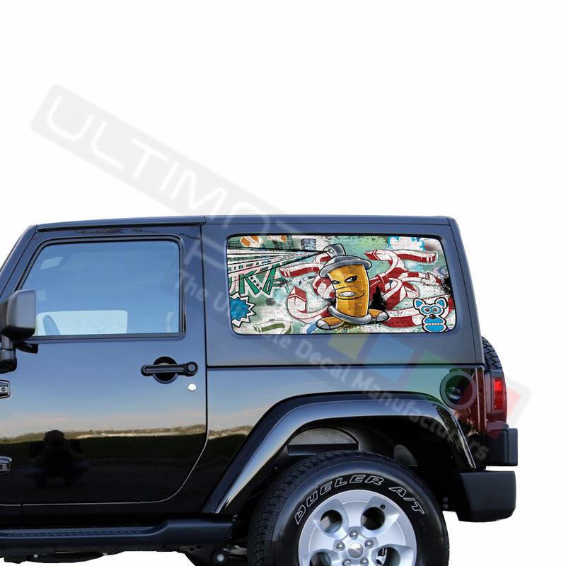 Rear Window Graffiti Perforated for Jeep Wrangler JL, JK decal 2007 - Present