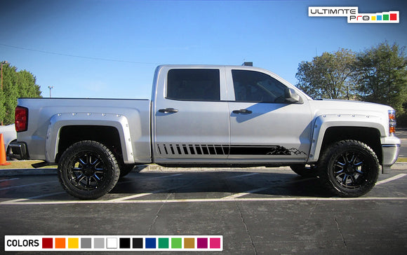 Side door mountains Decal, vinyl design for Chevrolet Silverado decal 2015 - Present