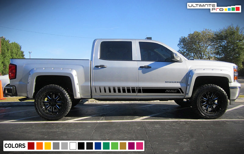 Side stripes sticker, design for Chevrolet Silverado decal 2015 - Present