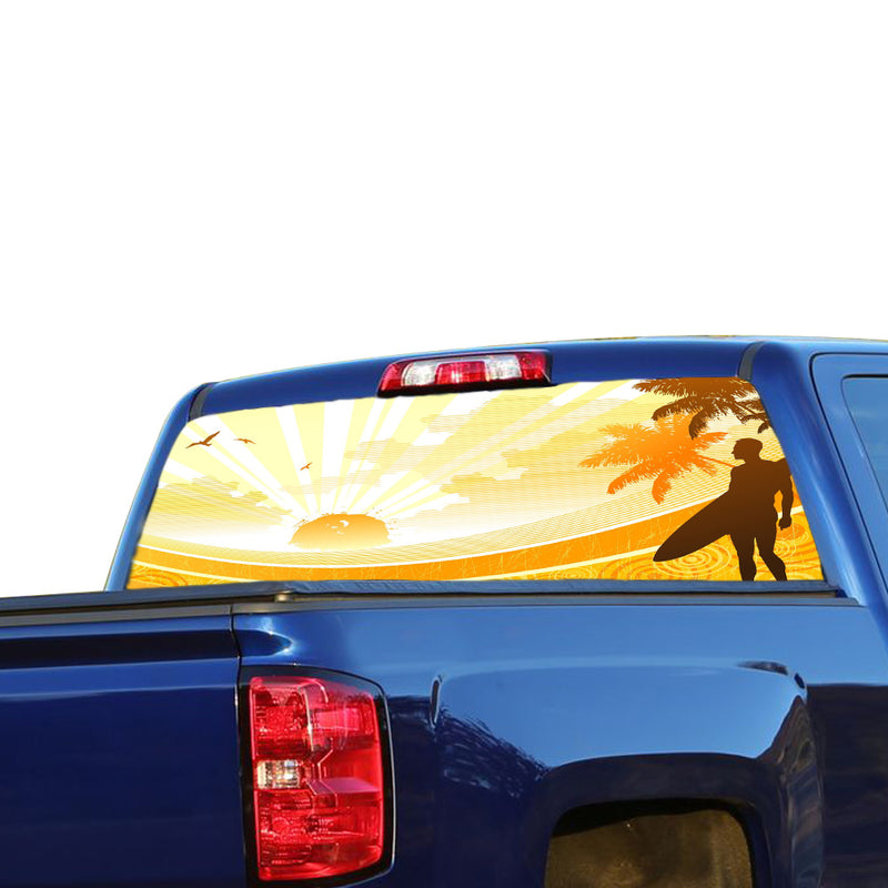 Surfing 1 Perforated for Chevrolet Silverado decal 2015 - Present