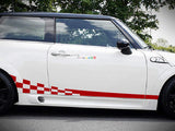 Set of Racing Wavy Checkered Flag Side Stripes Decal Sticker Graphic Mini Cooper S Hatch Hardtop