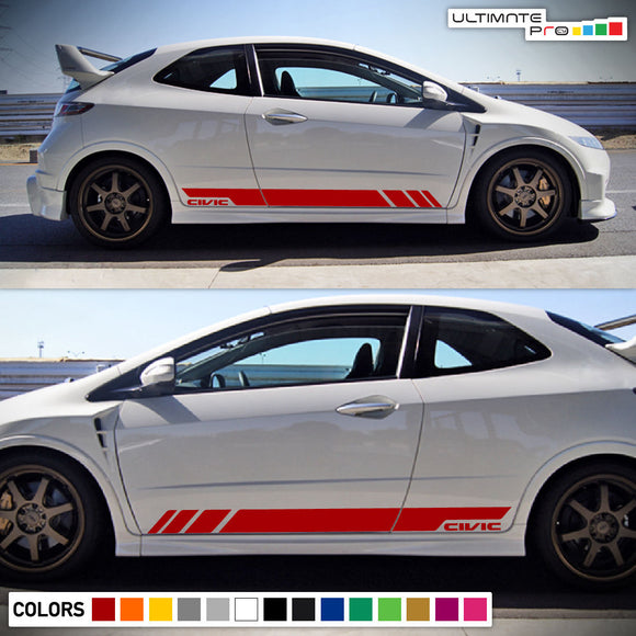 Sticker Vinyl Side Door Stripes for Honda Civic Sport Wing Type R