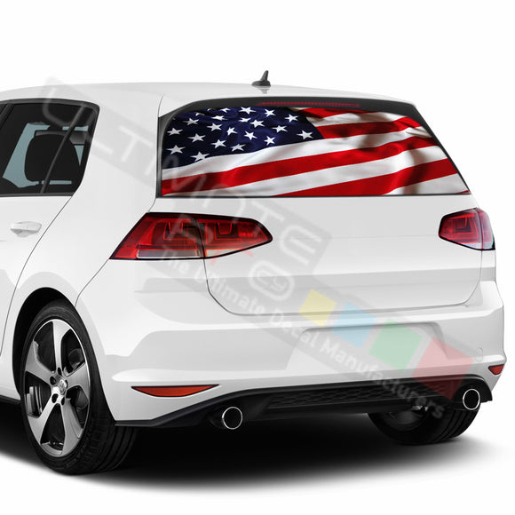 USA Flag Perforated Decals compatible with Volkswagen Golf
