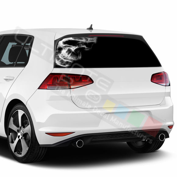 Skull Perforated Decals compatible with Volkswagen Golf