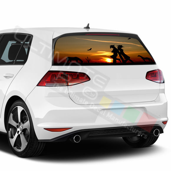 West Perforated Decals compatible with Volkswagen Golf