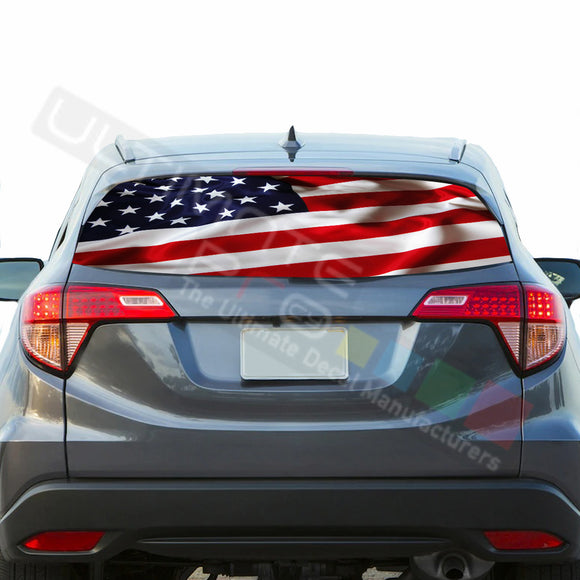 USA Flag Perforated Decals stickers compatible with Honda HRV