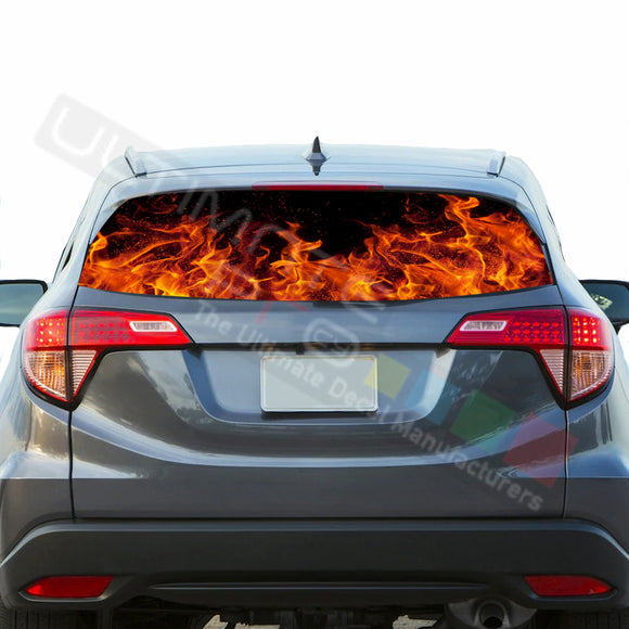 Flames Perforated Decals stickers compatible with Honda HRV