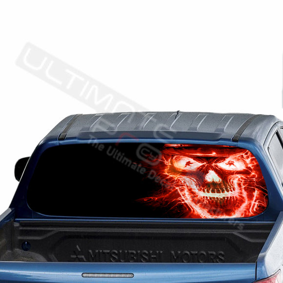 Skull Perforated Decals stickers compatible with Mitsubishi L200