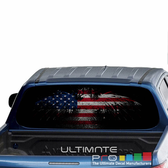 Eagle Flag Perforated Decals stickers compatible with Mitsubishi L200
