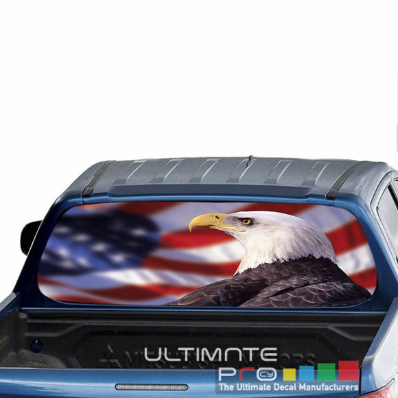 Flag Eagle Perforated Decals stickers compatible with Mitsubishi L200