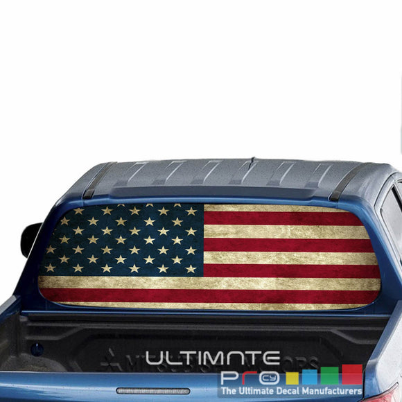 USA Flag Perforated Decals stickers compatible with Mitsubishi L200